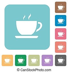 Flat coffee icons on rounded square color backgrounds