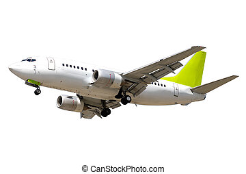 airliner on white background - An airliner on a clean white...