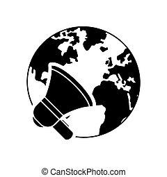 earth globe and megaphone icon