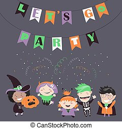 Children trick or treating in Halloween costume. Vector...