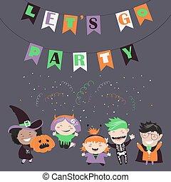 Children trick or treating in Halloween costume. Vector...