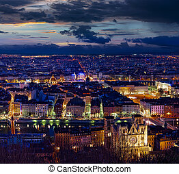 Lyon - City of Lyon at night