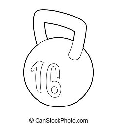 Kettlebell icon, outline style - Kettlebell icon in outline...