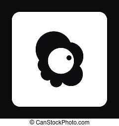 Scrambled eggs icon, simple style - Scrambled eggs icon in...