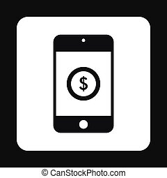 Online purchase in smartphone icon, simple style
