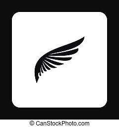 Black wing of bird icon, simple style