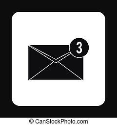 Three new e-mail icon, simple style