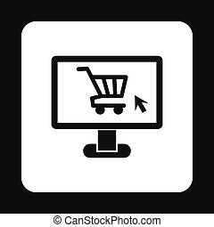 Purchase at online store through computer icon