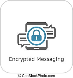 Encrypted Messaging Icon Flat Design Security Concept with a...