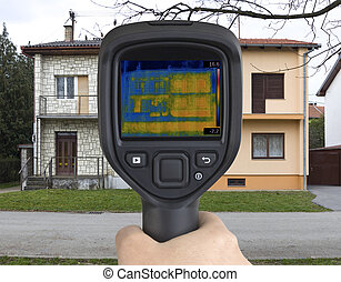 Semi Detached Houses Infrared Camera - Thermal Image of Semi...