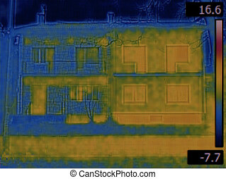 Semi Detached Houses Infrared - Thermal Image of Semi...