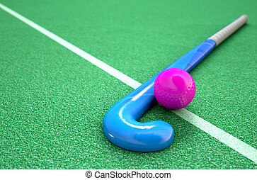 Hockey Stick And Ball - A 3D rendering of a hockey stick and...