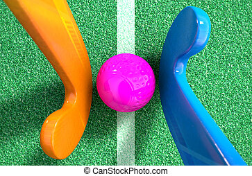 Hockey Stick And Ball - A 3D rendering of two hockey sticks...