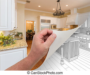 Hand Turning Page of Custom Kitchen Photograph to Drawing -...