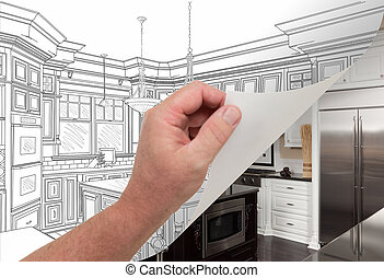 Hand Turning Page of Custom Kitchen Drawing to Photograph -...