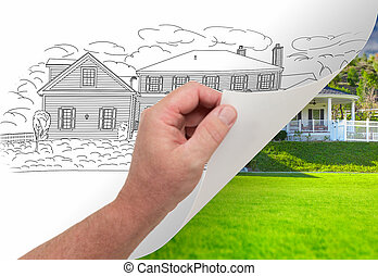 Hand Turning Page of Custom Home Drawing To Photograph -...
