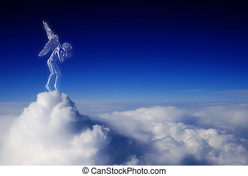 Beautiful angel in heaven - Beautiful angel looks down from...