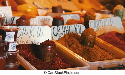 Georgian and Oriental Spices on the Market - Georgian,...