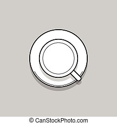 Cup of black coffee. Thin line topview vector