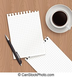 Pen, coffe and blank paper. Realistic top view vector...