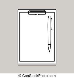 Empty blank clipboard with pen