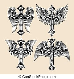 Winged Cross Set
