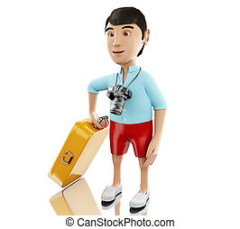 3d Man with a suitcase and a camera. - 3d renderer image....
