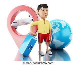 3d Man with a suitcase, map pointer and airplane. - 3d...