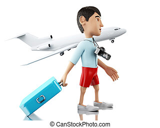3d Man with a suitcase and camera goes on vacation. - 3d...