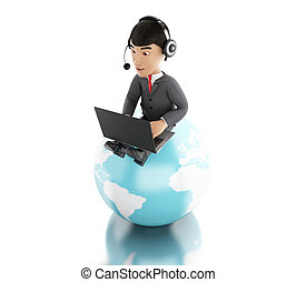 3d Businessman working on a laptop with headphones on earth globe.