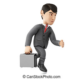 3d Businessman running with a briefcase.