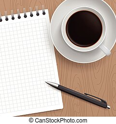 Blank Pad of Paper, Pen and Coffee - Blank Pad of Paper...