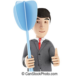 3d businessman with a blue dart - 3d Illustration...