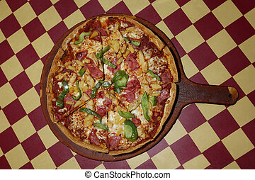 Delicious fresh pepperoni and pepper pizza