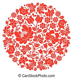 Kalocsai folk art embroidery - Vector background -...