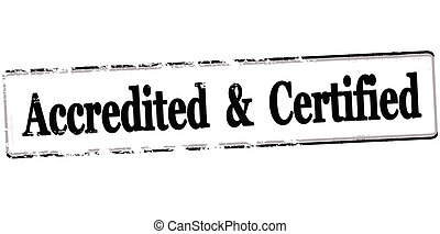 Accredited and certified - Rubber stamp with text accredited...