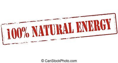 One hundred percent natural energy - Rubber stamp with text...