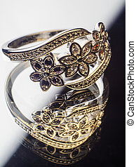 Silver Ring decorated with precious stones sapphire,...