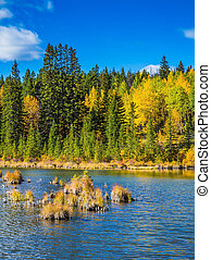 The golden autumn in lakes Vermilion - Concept of...