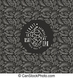 Malt and cone hop pattern. Craft beer brewery label. White...