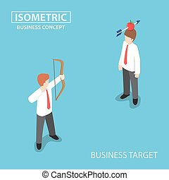 Isometric businessman shoot an apple on colleague head