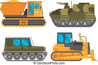 Caterpillar vehicle tractor vector - Tracked excavator...