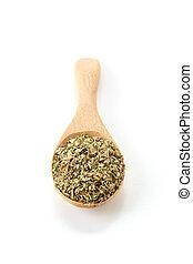 oregano on wood spoon