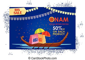 Happy Onam shopping sale offer - vector illustration of...