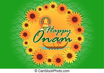 Happy Onam Festival background - vector illustration of...