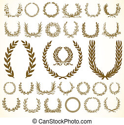 Vector Wreaths - Set of vector wreaths and ornaments Easy to...