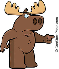 Angry Moose - A cartoon moose with an angry expression