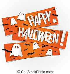 Happy Halloween card design elements on background, vector...