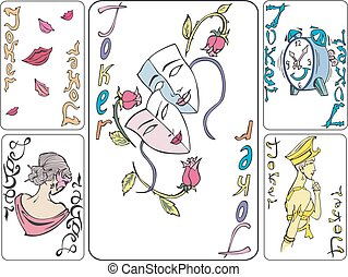 Set of playing joker cards Vector illustrations