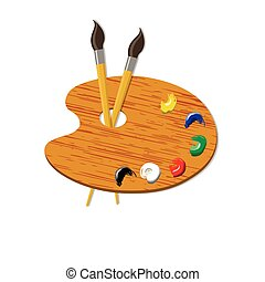 Brushes and palette with paints. vector illustration - two...